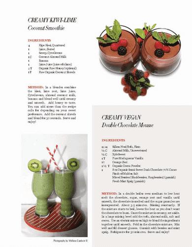 Healthy Living Magazine - Creamy Kiwi Lime Coconut Smoothie & Vegan Double Chocolate Mousse